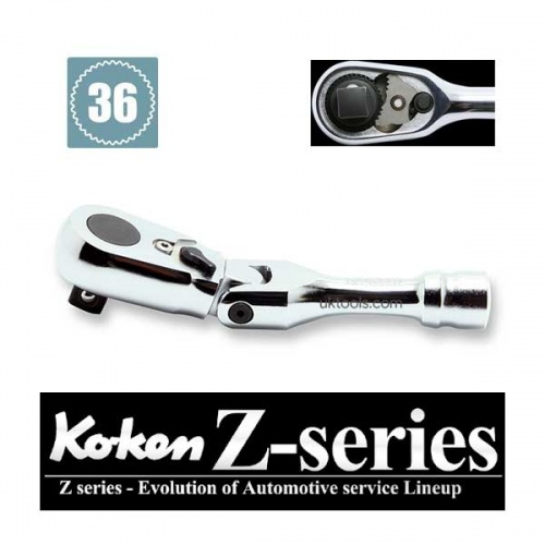 Koken 3726ZS 3/8''Sq Drive Flexi Short Ratchet 120mm Long