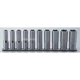Koken RS4300M/10 10piece 1/2''Drive Deep 6point(hex) Chrome Socket Set on Rail
