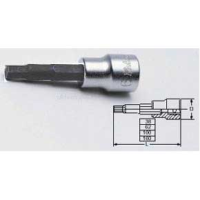 Koken 3010M.100-12 12mm 3/8''Drive Hex Bit 100mm Long Socket