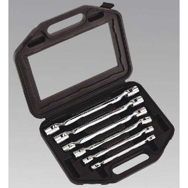 Sealey AK635 - Double Flexi-Head Socket Spanner Set 6pc Fully Polished Metric