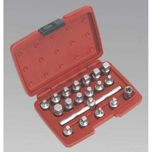 "Sealey AK6586 - Oil Drain Plug Key Set 19pc - 3/8""Sq Drive"
