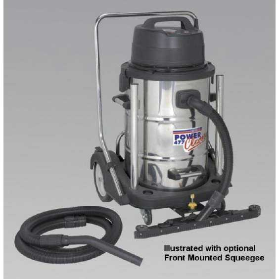 Sealey PC477 - Industrial Wet & Dry Vacuum Cleaner 77ltr Stainless Drum 2400W/230V Swivel Bin Em