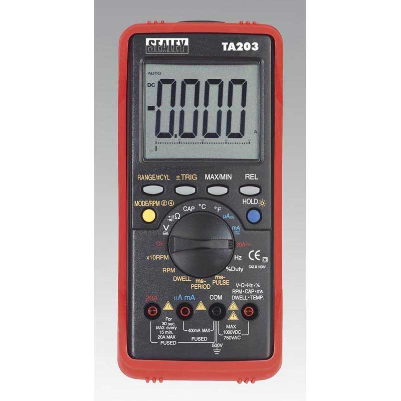 Sealey TA203 - Automotive Digital Multimeter 15 Function Bar Graph/PC Link