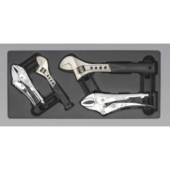 Sealey TBT04 - Tool Tray with Locking Pliers & Adjustable Wrench Set 4pc