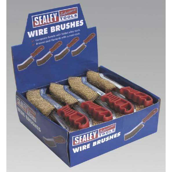 Sealey WB05DB24 - Wire Brush Brassed Steel Plastic Handle Display Box of 24