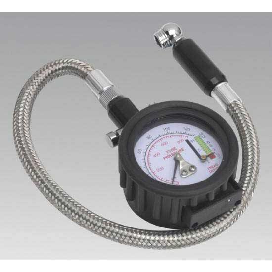 Sealey TSTPDG02 - Tyre Pressure Gauge with Tyre Tread Depth Gauge - Flexi Hose