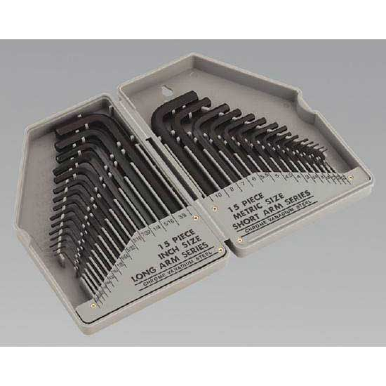 Sealey S0484 - Hex Key Set Long/Short Arm Metric/Imperial 30pc