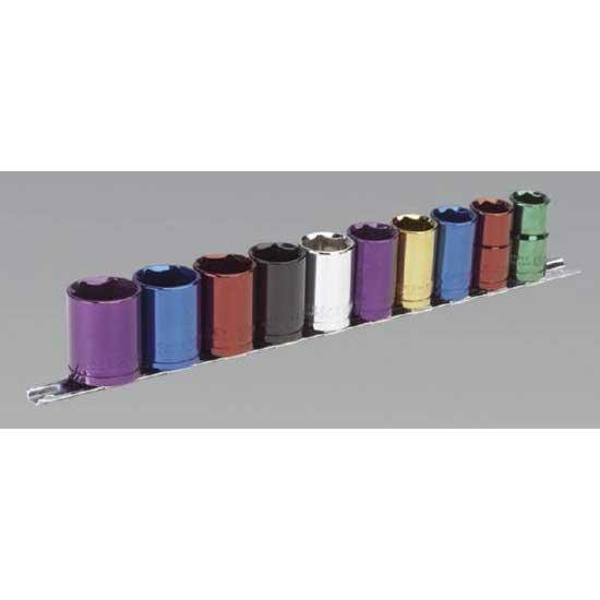 "e1cdd146b2f Sealey AK288 - Multi-Coloured Socket Set 10pc 1/2""Sq Drive Metric ..."