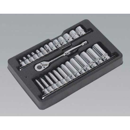 "Sealey AK66481 - Ratchet Wrench & Socket Rail Set 27pc 1/4""Sq Drive"