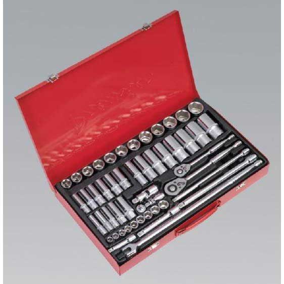 "Sealey AK6942 - Socket Set 50pc 3/8"" & 1/2""Sq Drive - WallDrive - Metric"