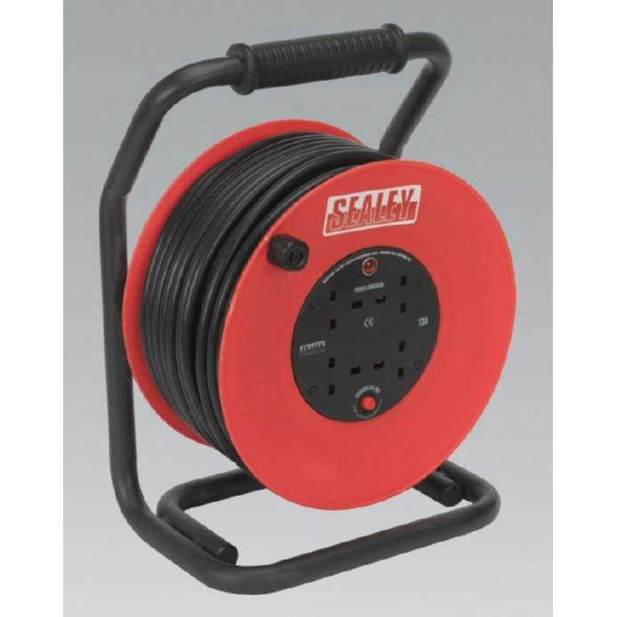 Cable Reel 50mtr 4 x 230V 2.5mm² Heavy-Duty Thermal Trip