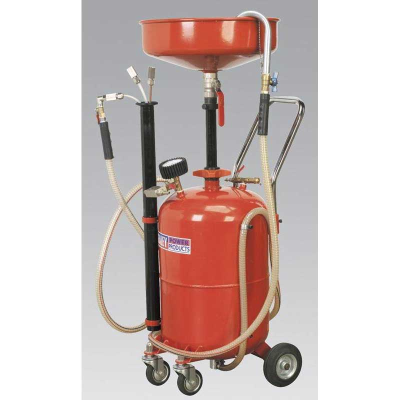 Sealey AK456DX - Mobile Oil Drainer with Probes 35ltr Air Discharge
