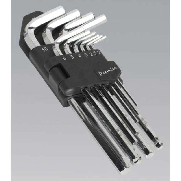 Sealey AK7166 - Hex Key Set 10pc Long Fully Polished Metric