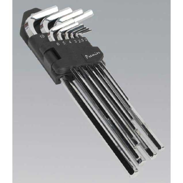 Sealey AK7167 - Hex Key Set 10pc Extra-Long Fully Polished Metric