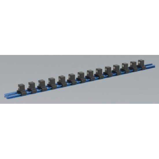 Sealey SR1214 - Socket Retaining Rail with 14 Clips Aluminium 1/2'' Sq Drive