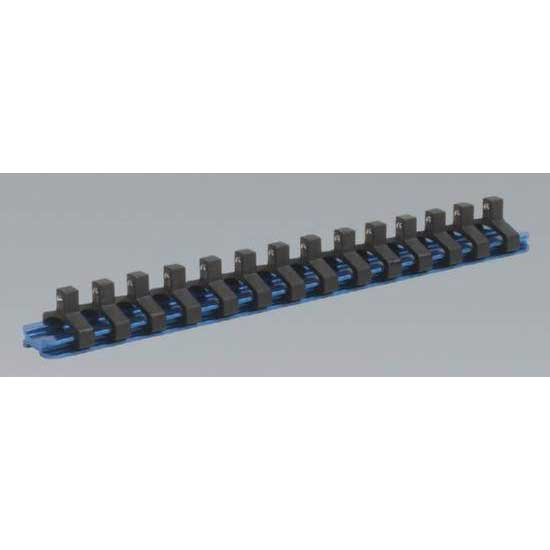 Sealey SR1414 - Socket Retaining Rail with 14 Clips Aluminium 1/4''Sq Drive
