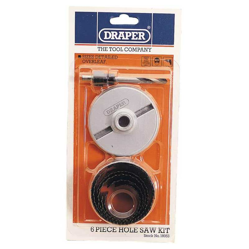 Draper 32m  - 63mm 7 Piece Holesaw Kit Carbon Steel for Wood and Plastics