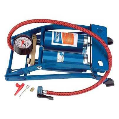 Draper Double Cylinder Foot Pump with Gauge