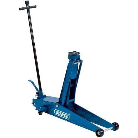 Draper 2 Tonne Long Chassis Hydraulic Trolley Jack with 'Quick Lift' Facility