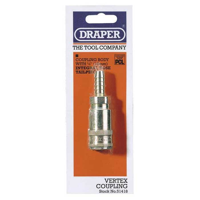 Draper 3/8'' Bore Vertex Air Line Coupling with Tailpiece