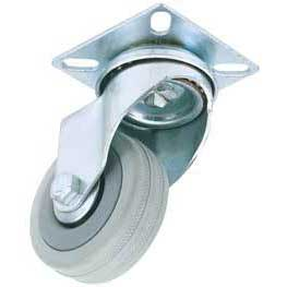 Draper 100mm Dia. Swivel Plate Fixing Rubber Castor - S.W.L 80Kg