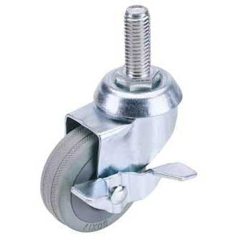 Draper 100mm Dia. Swivel Bolt Fixing Rubber Castor with Brake - S.W.L 80Kg