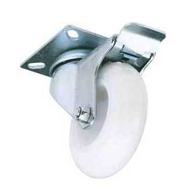 Draper 100mm Dia. Swivel Plate Fixing Nylon Wheel with Brake - S.W.L. 125Kg