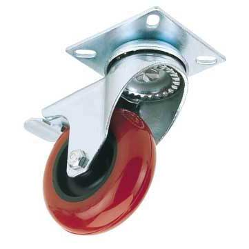 Draper 100mm Dia. Swivel Plate Fixing Polyurethane Wheel with Brake - S.W.L. 125Kg