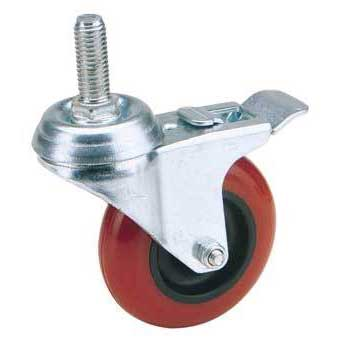 Draper 100mm Dia. Swivel Bolt Fixing Polyurethane Wheel with Brake - S.W.L. 125Kg