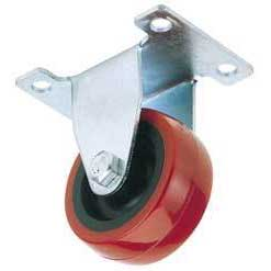 Draper 100mm Dia. Fixed Plate Fixing Polyurethane Wheel - S.W.L. 125Kg