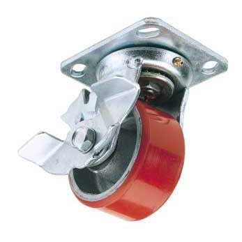 Draper 125mm Dia. Swivel Plate Fixing Heavy Duty Polyurethane Wheel with Brake - S.W.L. 300Kg