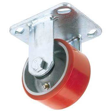 Draper 125mm Dia. Fixed Plate Fixing Heavy Duty Polyurethane Wheel - S.W.L. 300Kg