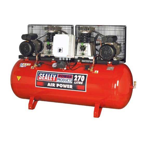 Compressor 270ltr Belt Drive 2 x 3hp with Cast Cylinders