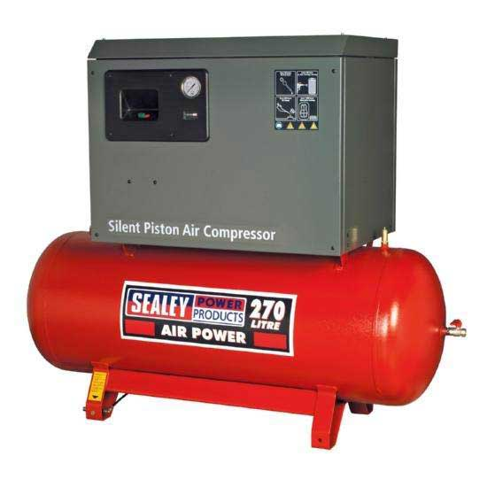 Compressor 270ltr Belt Drive 7.5hp 3ph 2-Stage with Cast Cylinders Low Noise