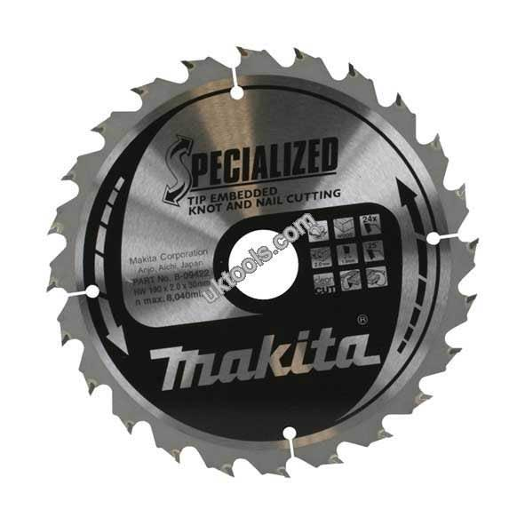Makita SPECIALIZED 355mm Portable Circular Saw Blade x 24T for Wood with Nails B-09385