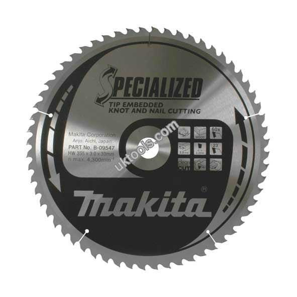Makita SPECIALIZED 355mm Portable Circular Saw Blade x 60T for Wood with Nails B-09547