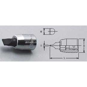 Koken 2005.25-5 No.5 1/4''Drive Bit Socket for Slotted Heads