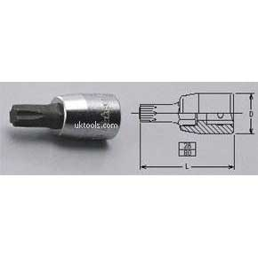 Koken 2025.80-T10 T15 1/4''Drive Torx Bit 80mm Long Socket