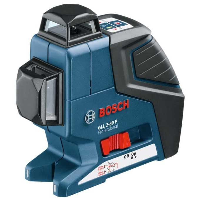 Bosch GLL 2-80 P + BM1 + LR2  2-Plane Cross Line Laser, dia 80m with receiver, 360° in hori