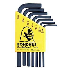 Bondhus 12245 HLX7S - 7pc SHORT Hex Key Set 5/64-3/16''