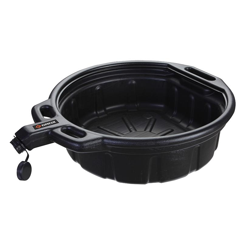 Groz Oil Drain Pan Black 16Ltr Anti Splash Lip