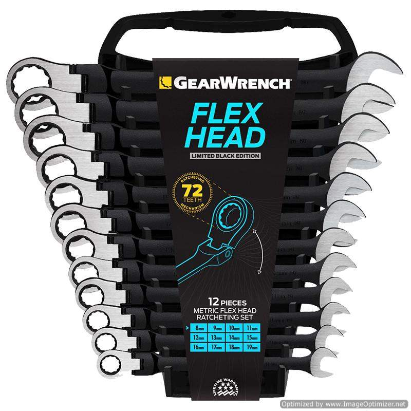 Gearwrench 12Pc Flex Hd Combination Ratcheting Wrench Black
