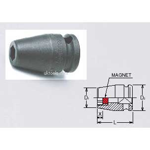 Koken 13400MG-18 18mm 3/8''Drive 6-Point 40mm Long Magnetic Impact  Socket