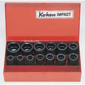 Koken 14241M 1/2''Drive Impact Socket Set 13piece 10 -27mm