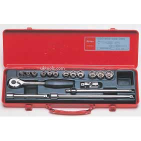 Koken 3250M-00 17 Piece 3/8''Drive 6 Point Socket Set in a Metal Case