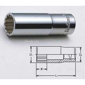 Koken 3305M-13 13mm (inch) 3/8'' Drive 12-Point Deep D/Hex 55mm Long Socket