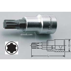 Koken 3027-50M12 M12 3/8'' Drive RIBE-CV 50mm Long Bit Socket