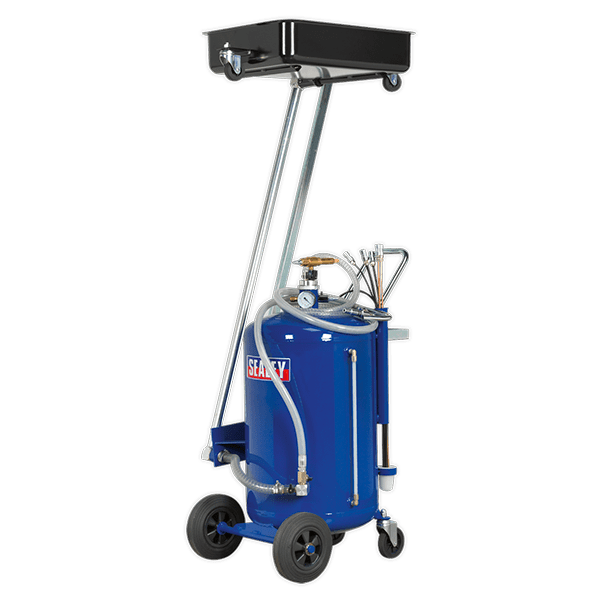 Sealey AK462DX - Mobile Oil Drainer with Probes 100ltr Cantilever Air Discharge