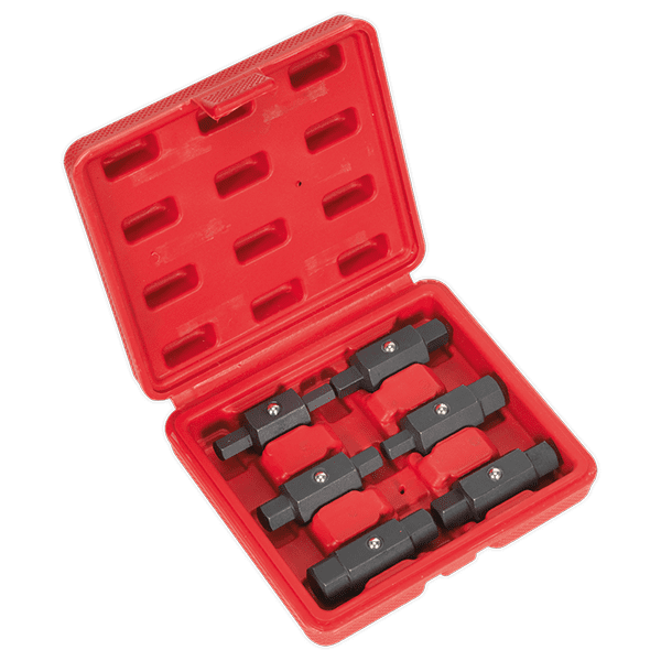 Sealey AK658 - Oil Drain Plug Key Set 6pc Double End