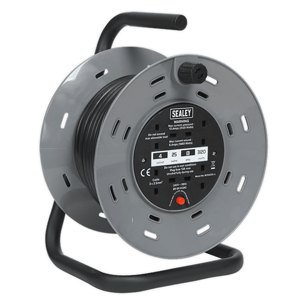 Sealey BCR2525 - Cable Reel 25mtr 2 x 230V Heavy-Duty